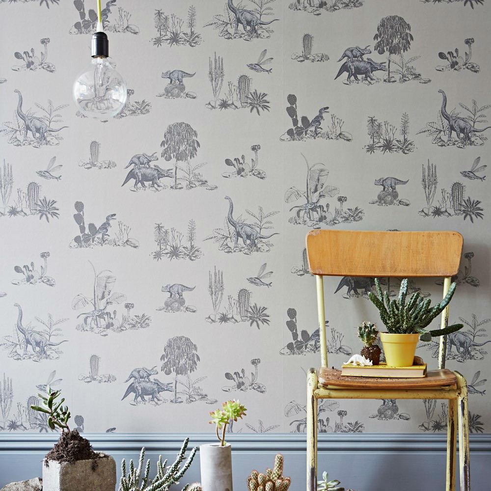 Tienda online telas papel papel pintado dinosaurios grises - Papel pintado animales ...