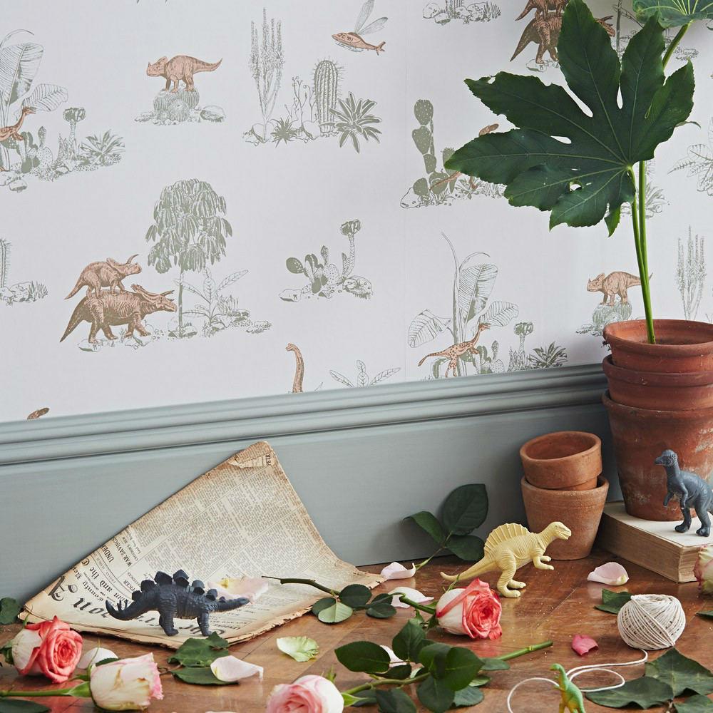 Tienda online telas papel papel pintado dinosaurios rosas for Papel pintado estampado