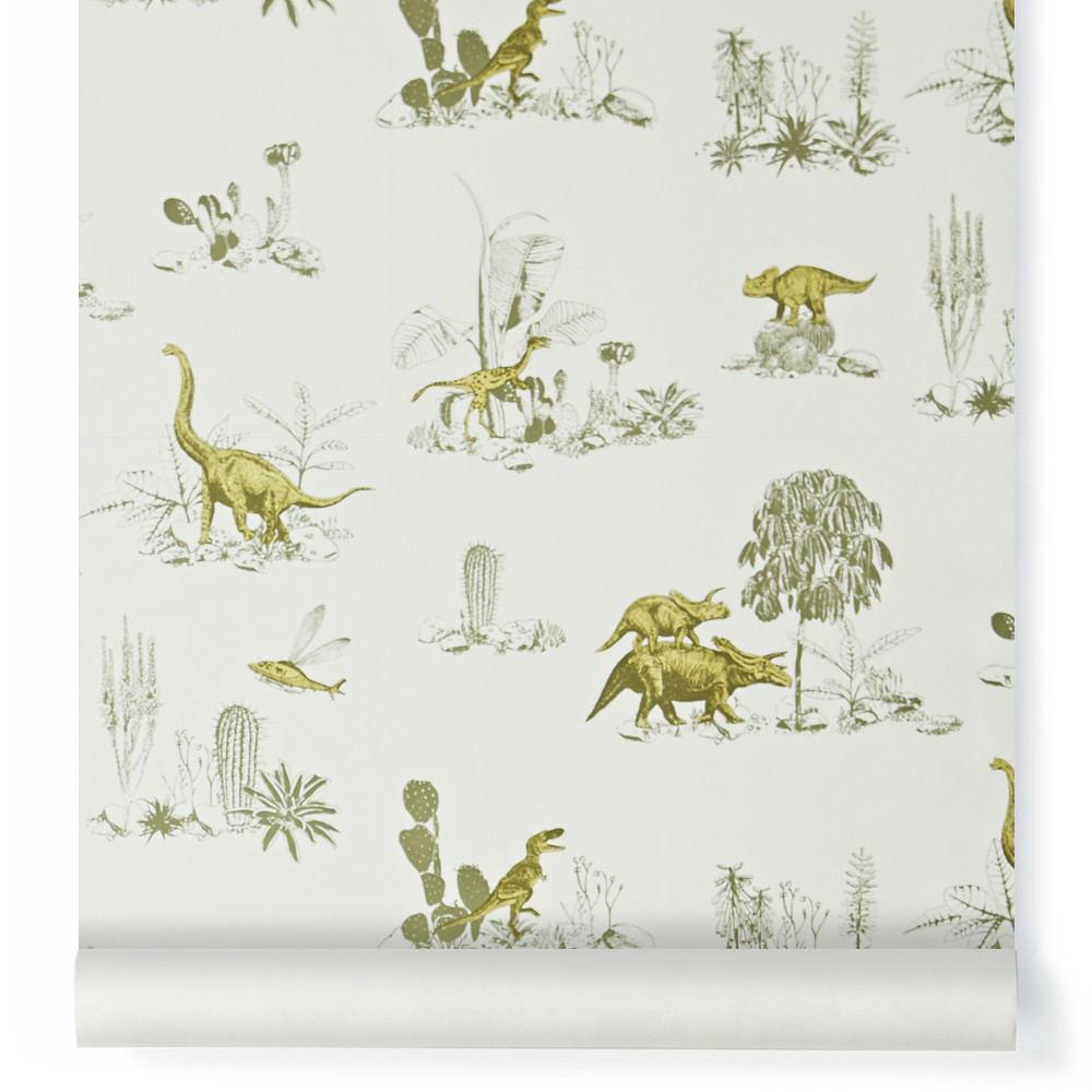 Tienda online telas papel papel pintado dinosaurios verdes - Papel pintado online ...