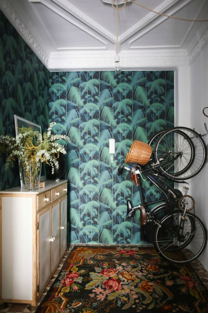 Tienda online telas papel papeles pintados con palmeras fondo negro - Maison decor papeles pintados ...