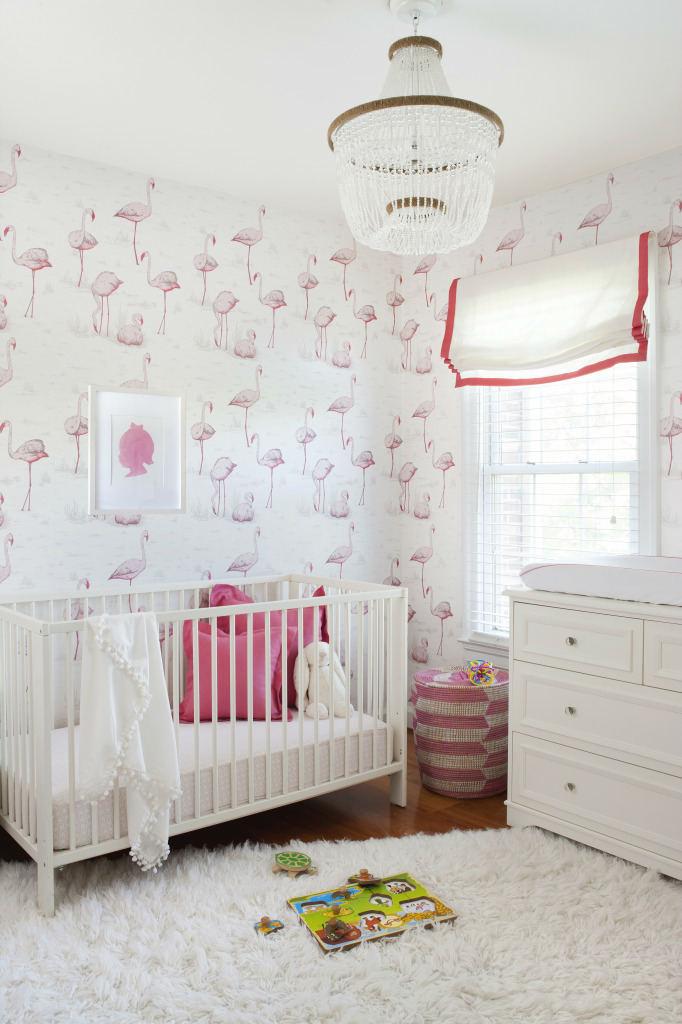 tienda online telas & papel | Un cuarto de bebe con flamencos rosas