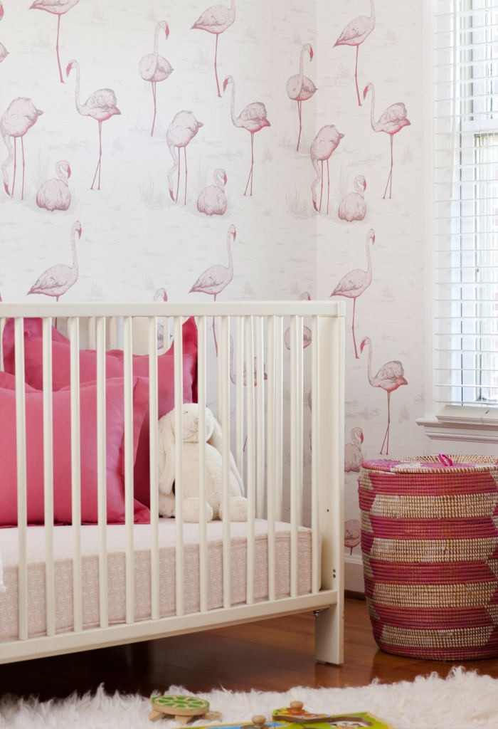 Tienda online telas papel un cuarto de bebe con flamencos rosas - Papel pintado habitacion bebe ...
