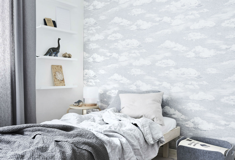 Tienda online telas papel papel nubes con copos de nieve for Papel pared dormitorio