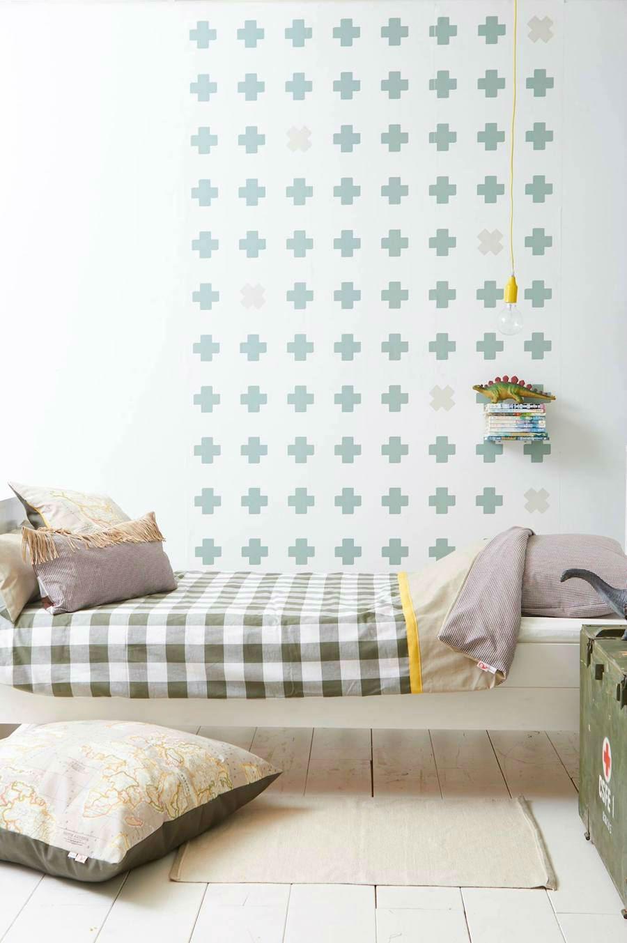 Tienda online telas papel papeles pintados con cruces - Colores azules para paredes ...