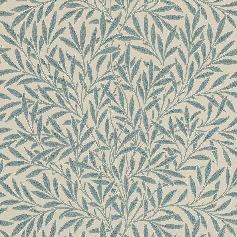 Tienda online telas papel papel pintado hojas de sauce for Papel pintado azul