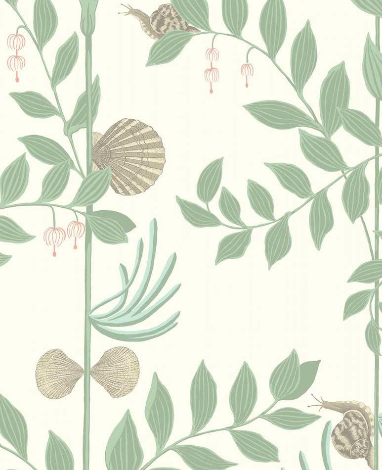 tienda online telas u papel papel pintado jardin secreto caracoles verde antiguo