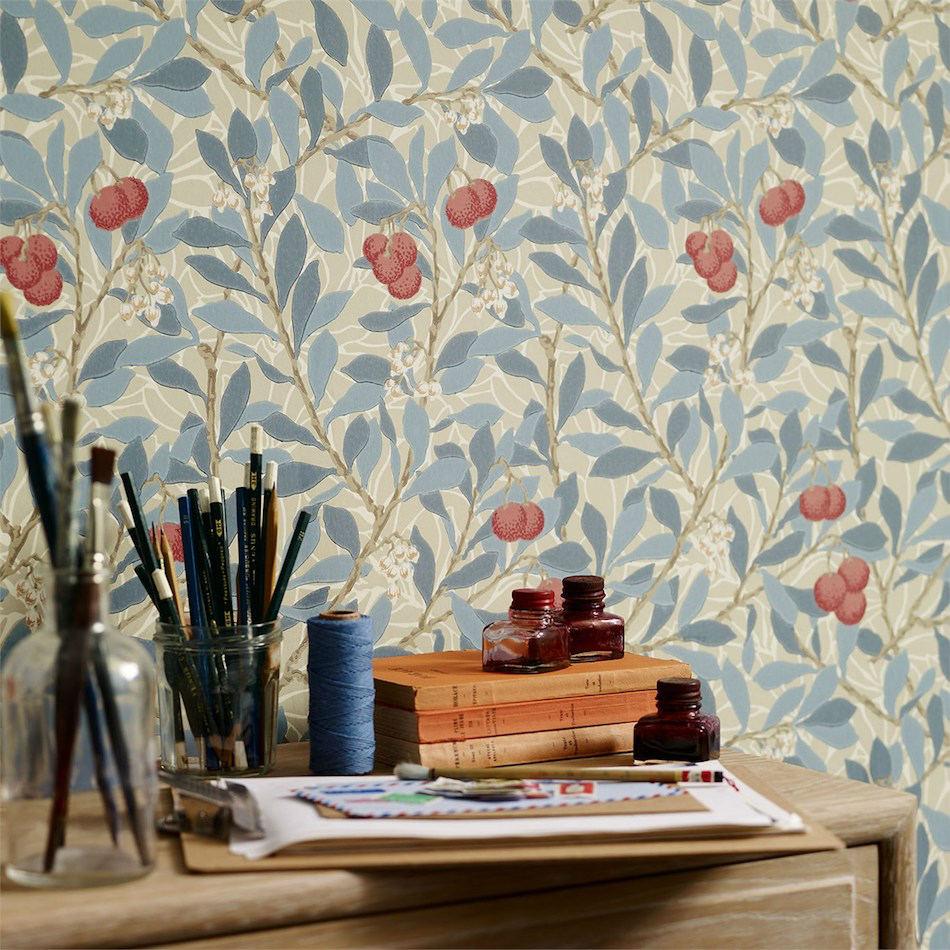 Tienda online telas papel papel pintado madro os azul - Papel pintado online ...