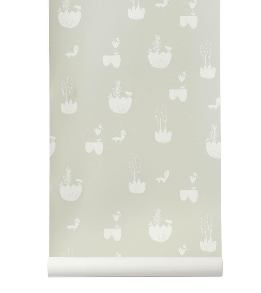 Tienda online telas papel papel pintado paisaje gris - Papel pintado paisaje ...