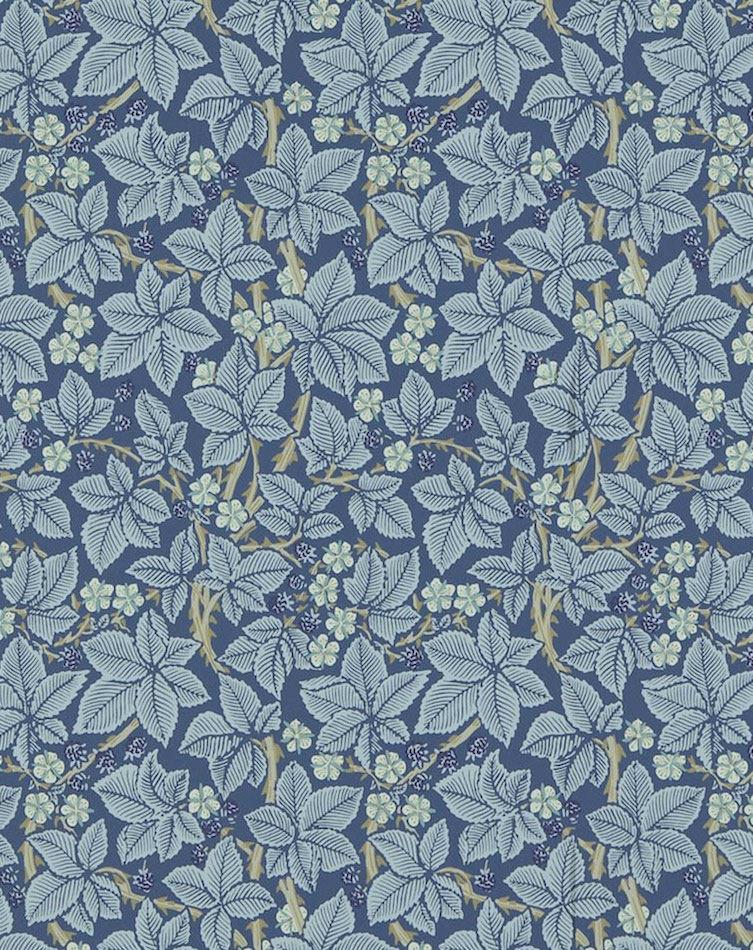 Tienda online telas papel papel pintado zarzamora azul for Papel pintado azul