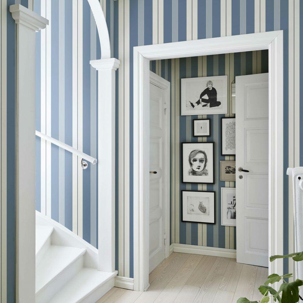 Tienda online telas papel papel pintado con rayas de - Papel pintado entrada ...