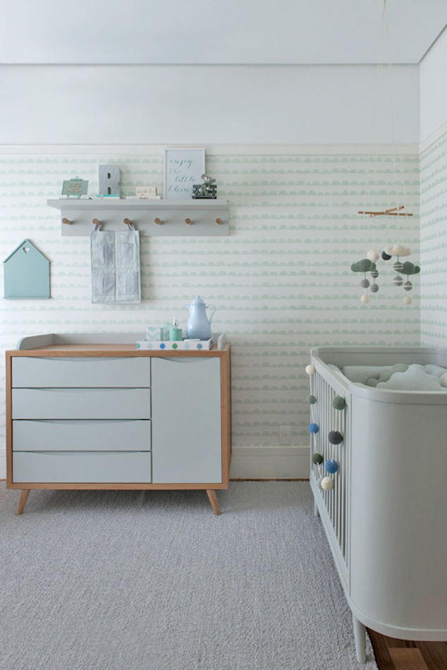 tienda online telas & papel   Dulce dormitorio de bebe color verde menta