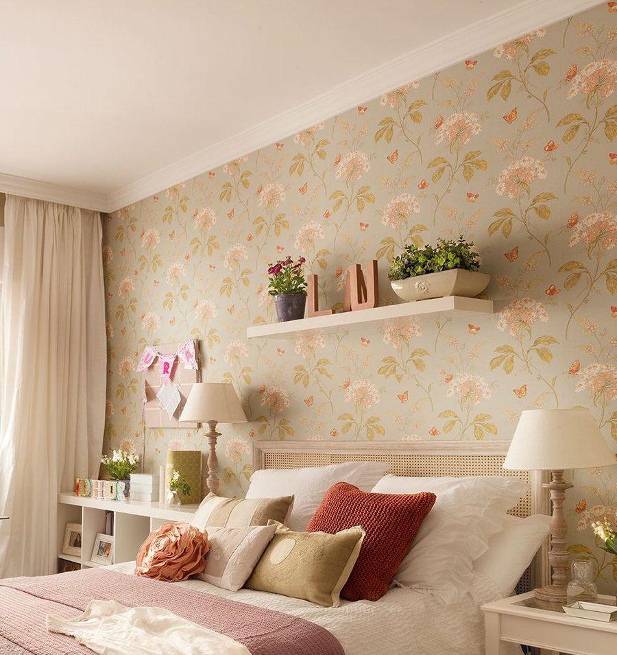 Tienda online telas papel paredes llenas de hortensias for Papel de pared dormitorio