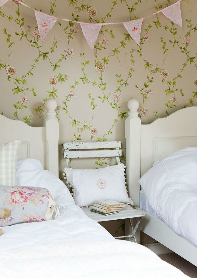 Tienda online telas papel papel flor pasion crema - Papeles pintados sanderson ...