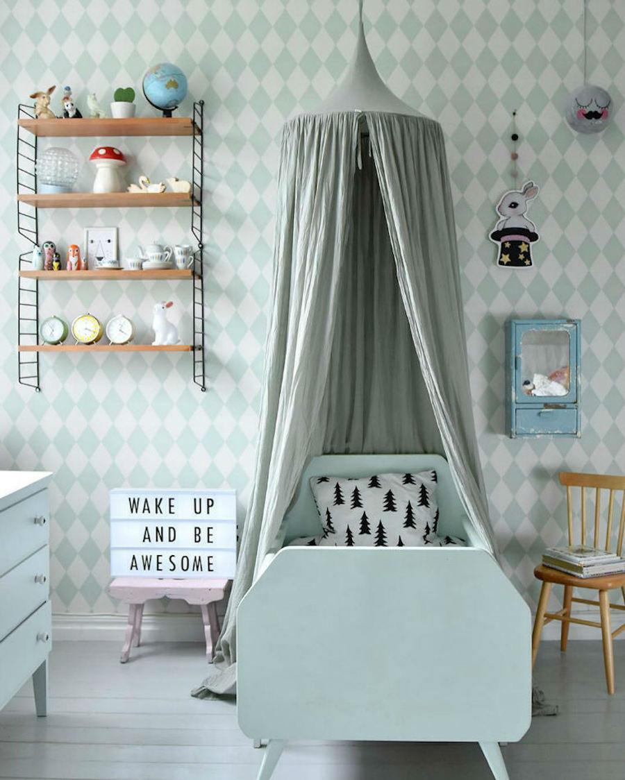 Tienda online telas papel el papel pintado de rombos for Dormitorio infantil nordico