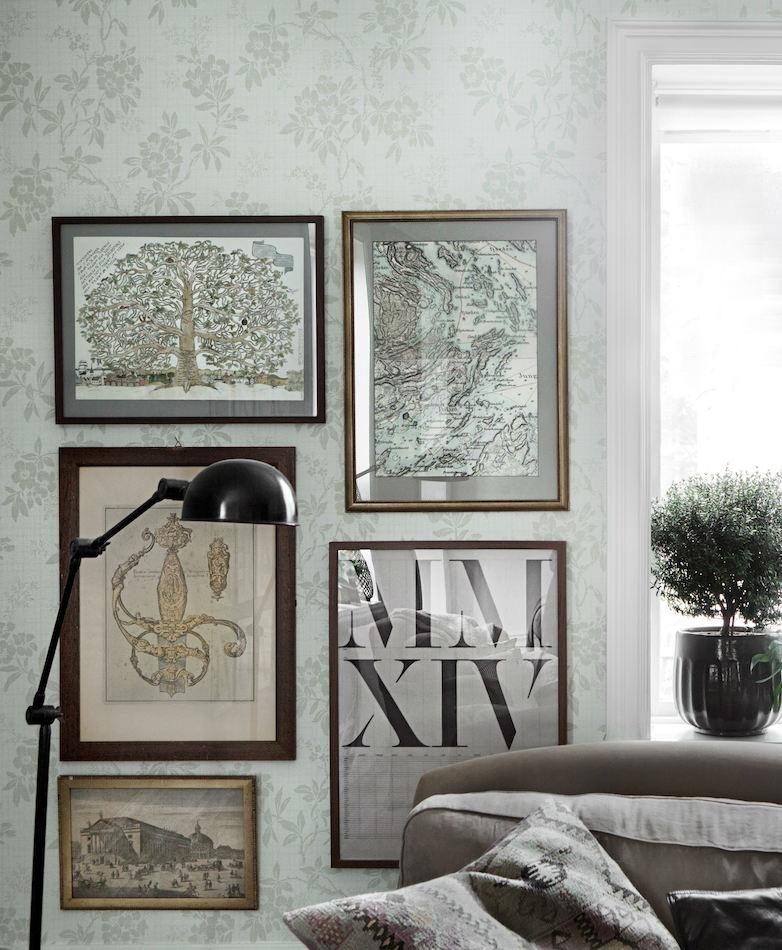 Tienda online telas papel papel siluetas flores verdes - Papel pintado online ...