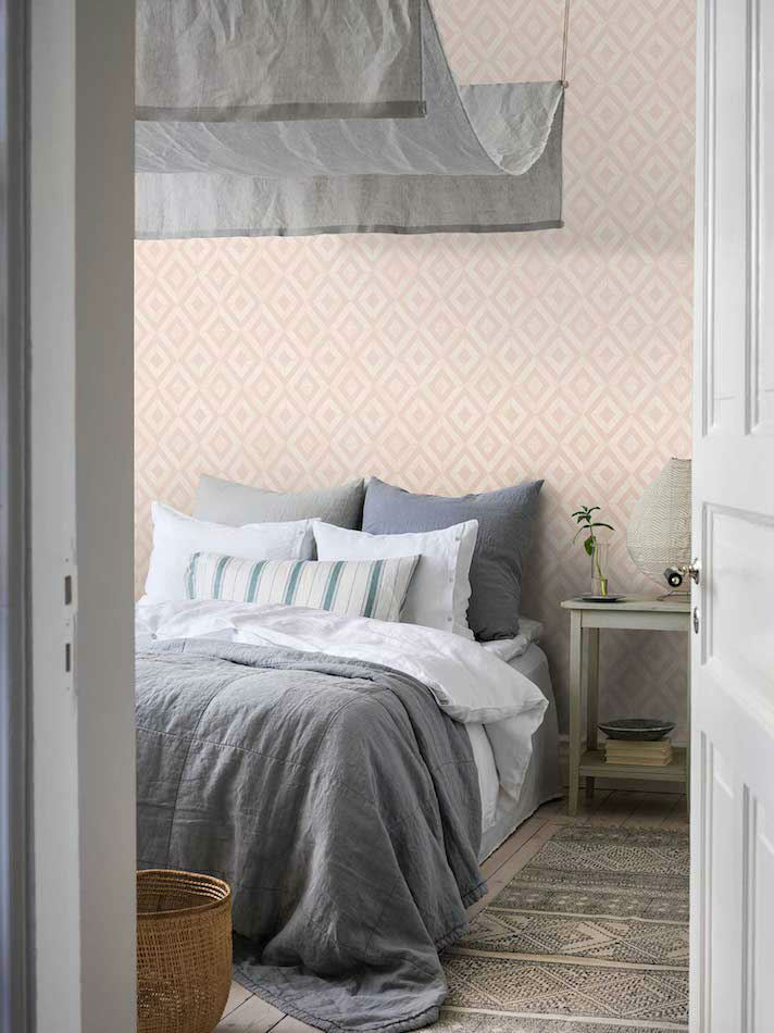 Tienda online telas papel papel pintado diamante rosa - Papel pintado para pared ...