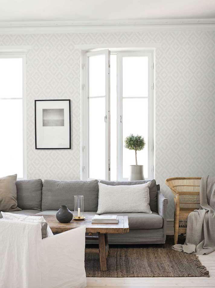 Tienda online telas papel papel pintado diamante gris - Papel pintado gris ...