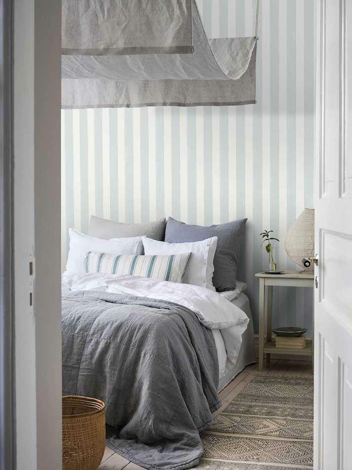 Tienda online telas papel papel pared rayas brocha azul - Dormitorios pintados a rayas ...