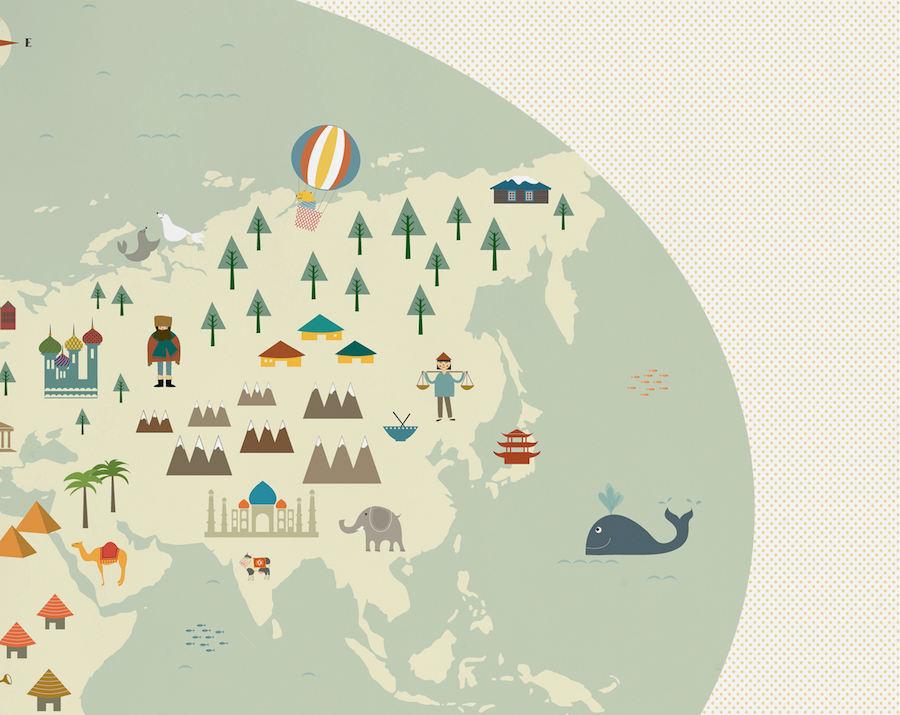 Tienda online telas papel el mural de mapamundi mas - Mapa mundi mural ...