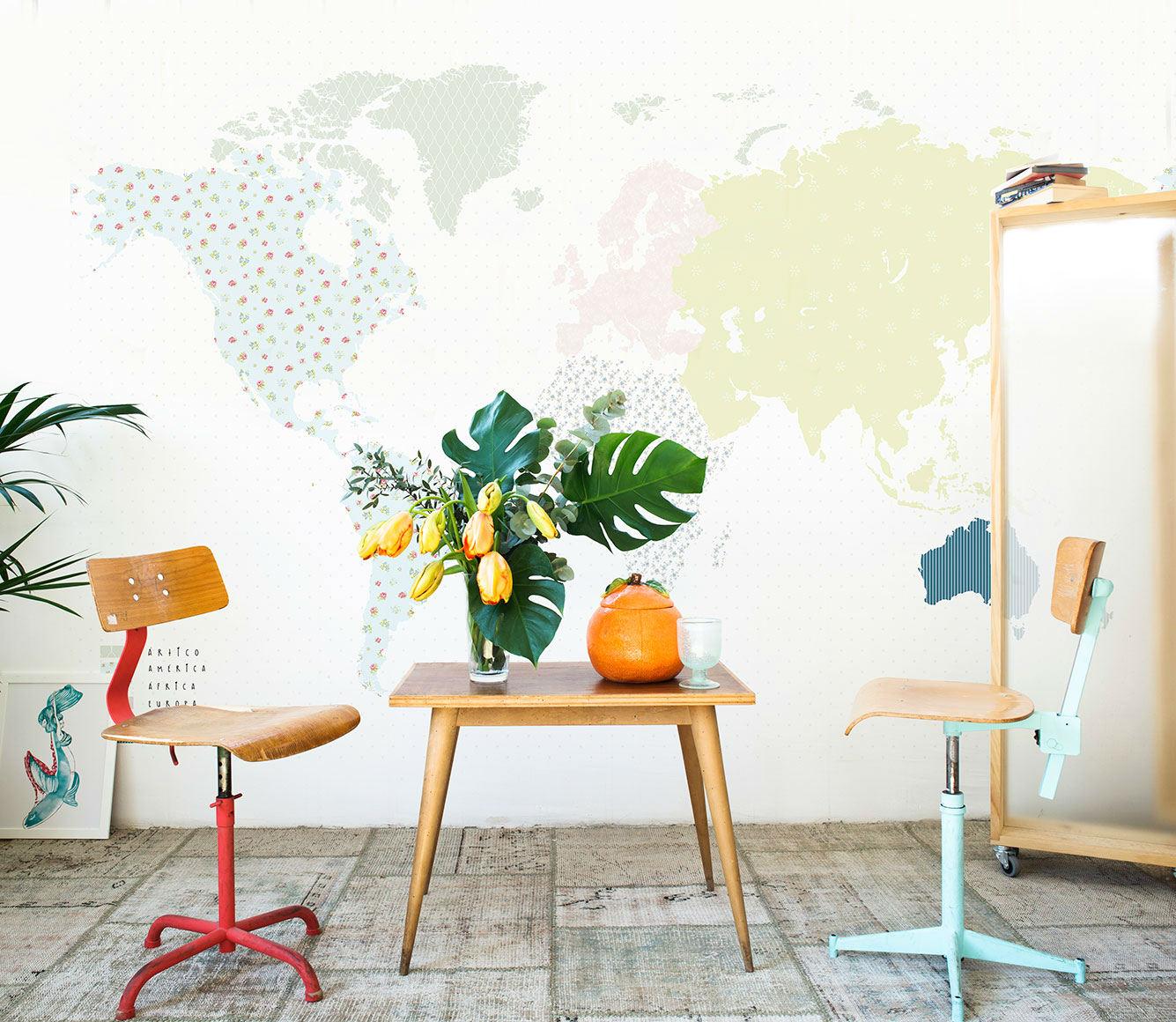 Tienda online telas papel mural mapa mundos - Papel pintado mapamundi ...