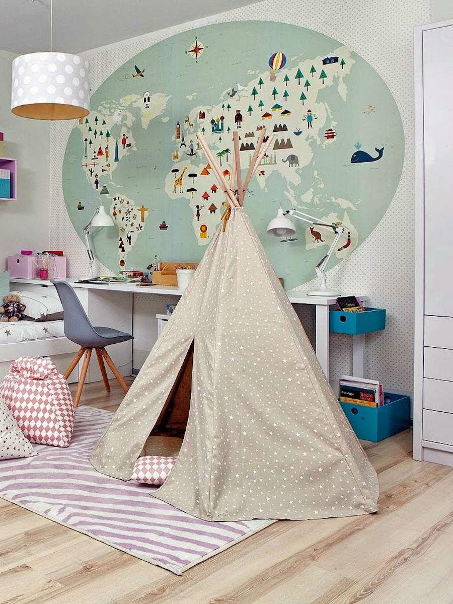 tienda online telas & papel | Mural mapamundi infantil