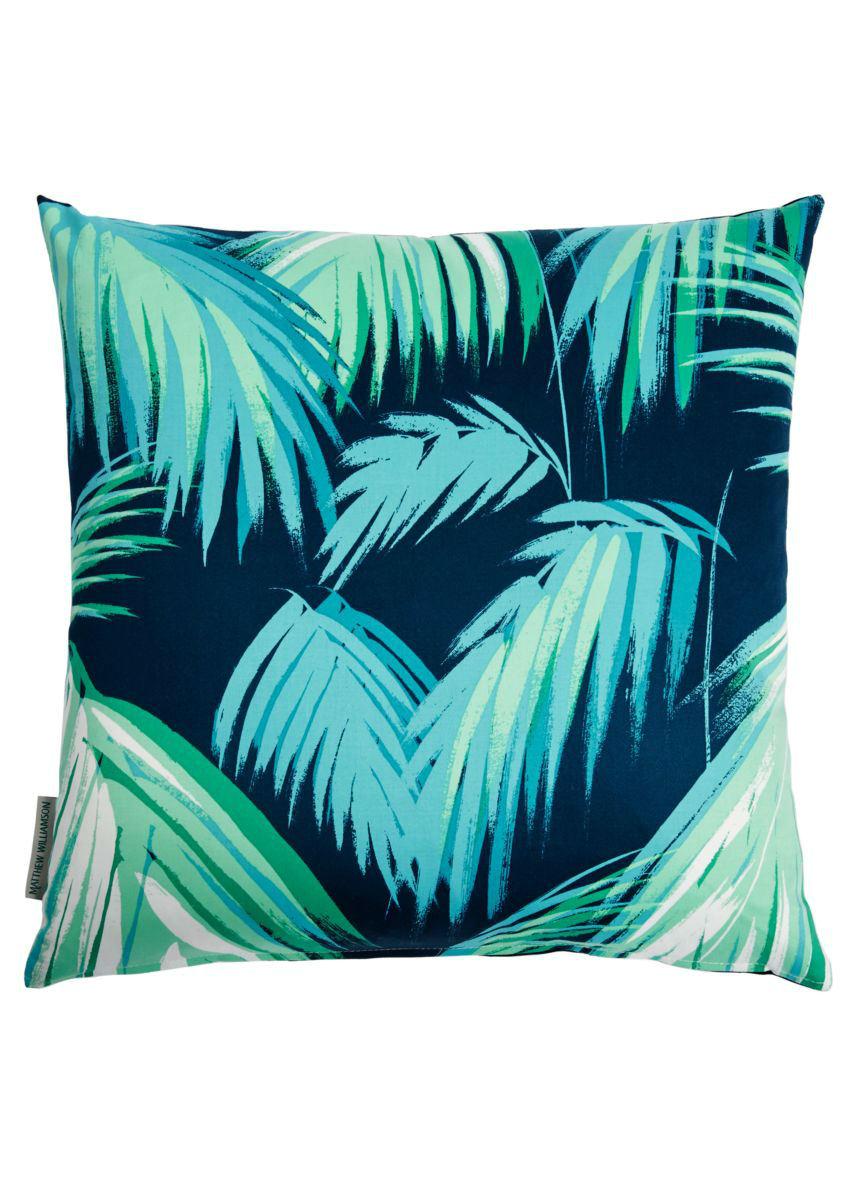 Tienda online telas papel tela palmeras tropical azul - Papel y telas ...