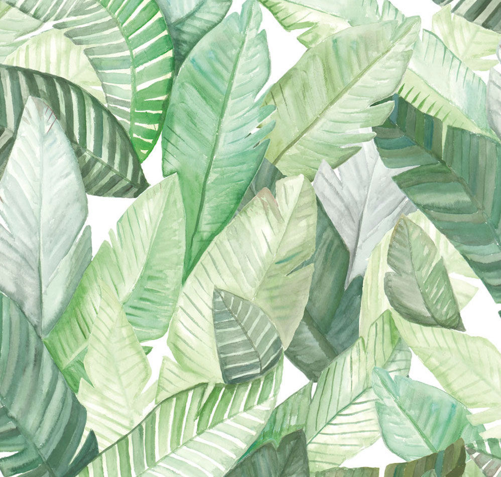 Tienda online telas papel papel hojas banano blanco for Papel pintado hojas verdes