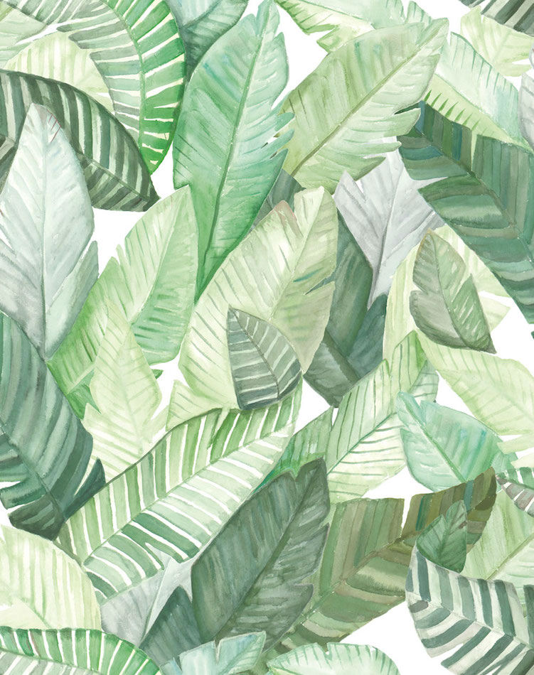 Tienda online telas papel papel hojas banano blanco for Papel pintado hojas
