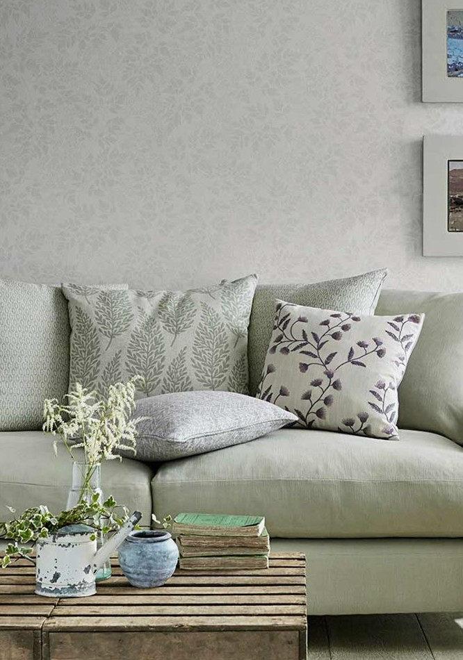 Tienda online telas papel papel pintado jazmin gris - Papel pared salon ...