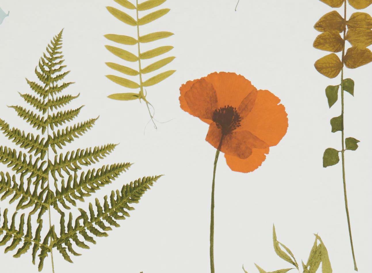 Tienda online telas papel papel pintado herbarium rojo - Papel pintado color plata ...