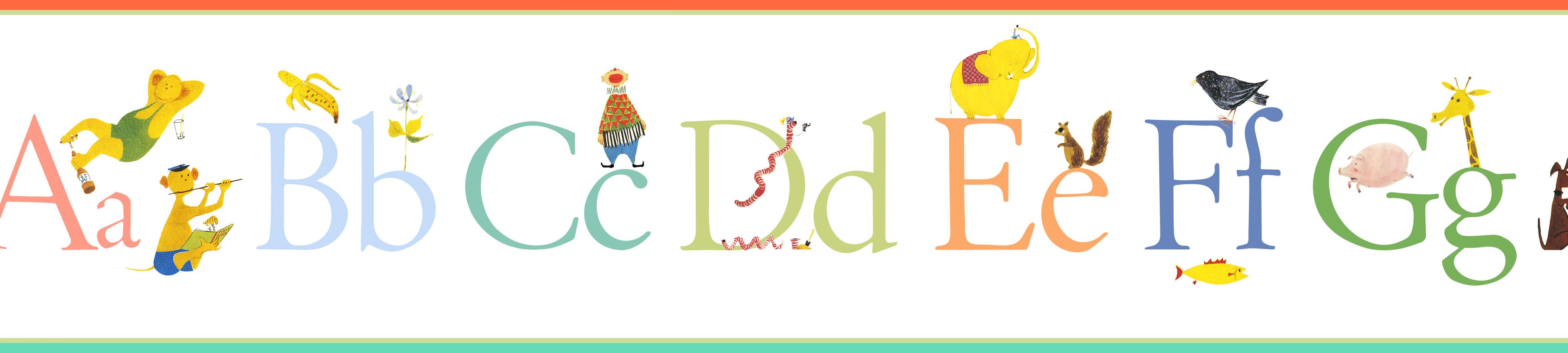 Tienda online telas papel cenefa infantil abecedario - Telas infantiles online ...