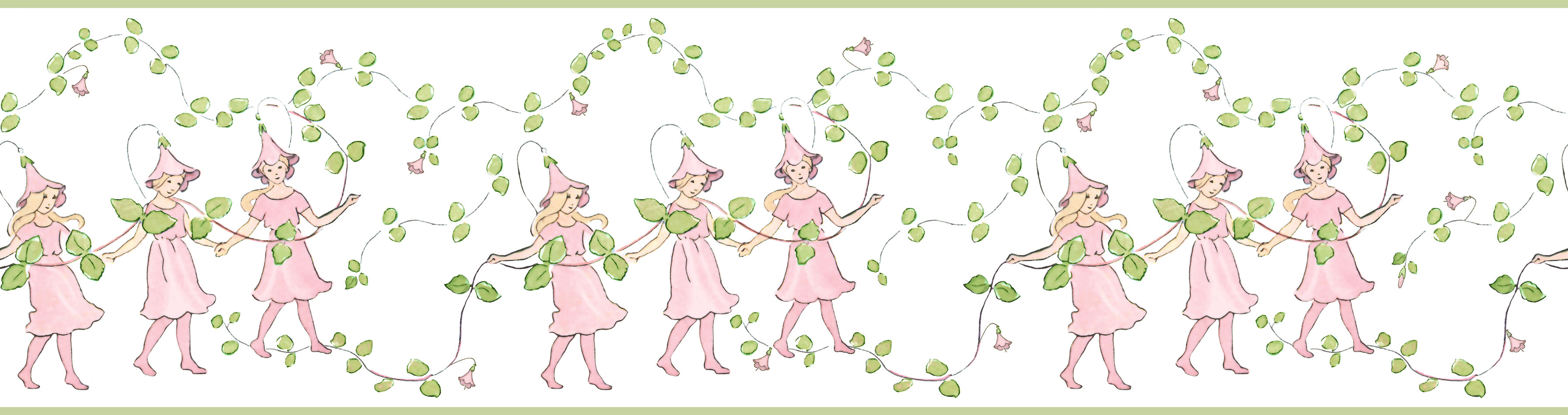 Tienda online telas papel cenefa infantil hadas rosas for Cenefas papel pintado
