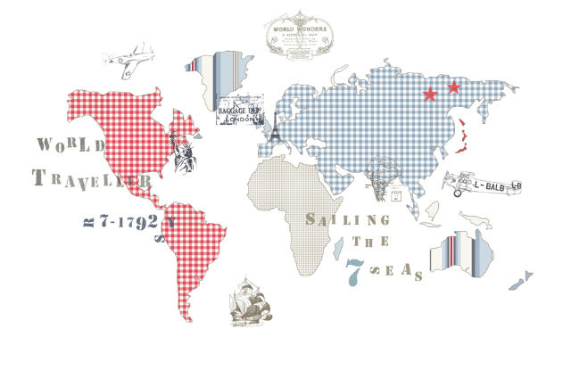 Tienda online telas papel un mapamundi en el estudio - Mural mapa mundi ...