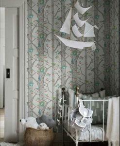 Tienda online telas papel papel hojas en rama azul for Dormitorio infantil bosque