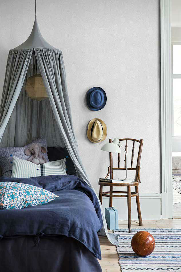 Tienda online telas papel papel pared buhitos grises - Papel pared dormitorio ...