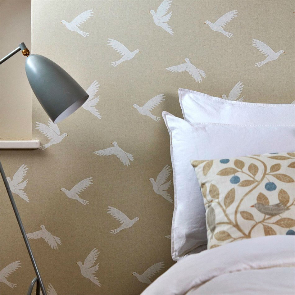 Tienda online telas papel papel pintado palomas natural - Papel pintado online ...