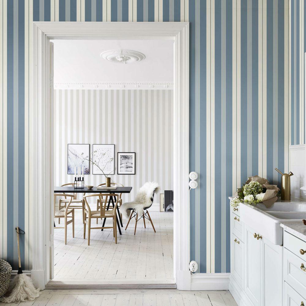 Tienda online telas papel papel rayas cristina azul oscuro - Papeles pintados rayas verticales ...
