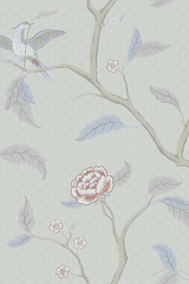 Tienda online telas papel papel pared flores y pajaros sxviii gris - Papel pared gris ...